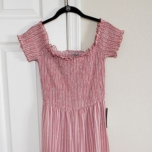 J for justify pink striped long romper
